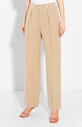 Женские брюки из смеси вискозы и льна LANVIN бежевого цвета, арт. RW-TR507U-4347-P20 | Фото 3