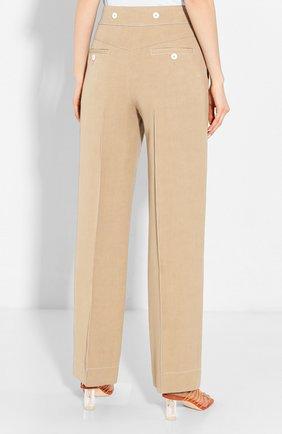 Женские брюки из смеси вискозы и льна LANVIN бежевого цвета, арт. RW-TR507U-4347-P20 | Фото 4