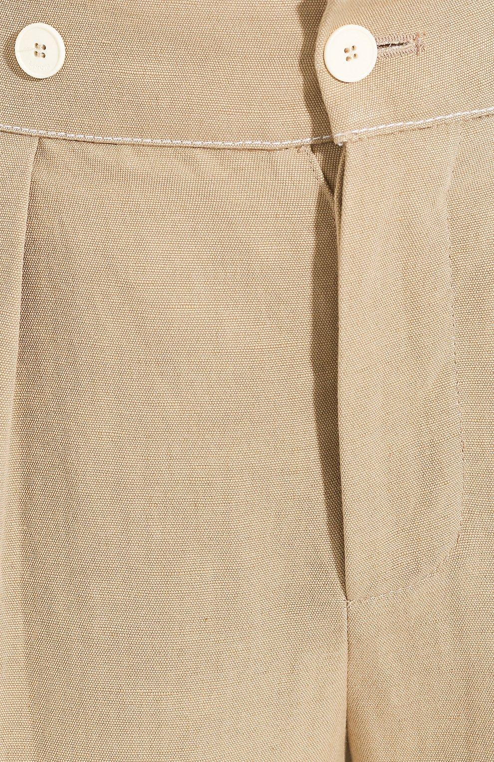 Женские брюки из смеси вискозы и льна LANVIN бежевого цвета, арт. RW-TR507U-4347-P20 | Фото 5