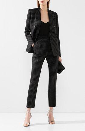 Женские шерстяные брюки SAINT LAURENT черного цвета, арт. 611057/Y1A90 | Фото 2