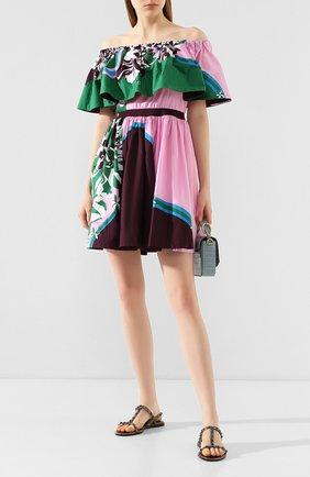 Женское хлопковое платье EMILIO PUCCI зеленого цвета, арт. 0ERG45/0E862 | Фото 2
