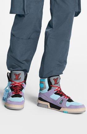 Мужские кожаные кроссовки lv trainer LOUIS VUITTON фиолетового цвета, арт. 1A7R0L | Фото 2