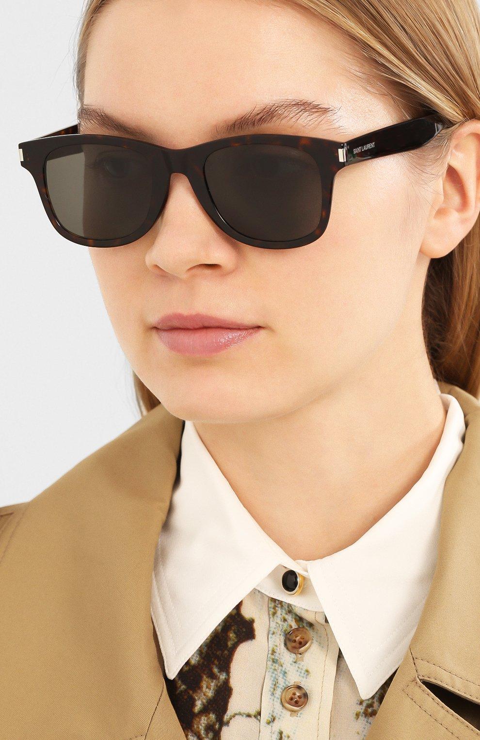 Женские солнцезащитные очки SAINT LAURENT коричневого цвета, арт. SL 51-B SLIM 003 | Фото 2