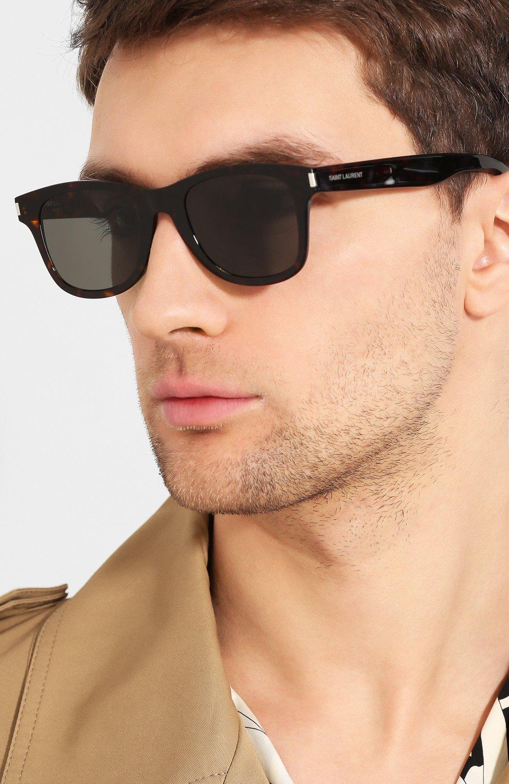 Женские солнцезащитные очки SAINT LAURENT коричневого цвета, арт. SL 51-B SLIM 003 | Фото 5