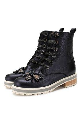 Женские кожаные ботинки PERTINI синего цвета, арт. 201W16765D1   Фото 1