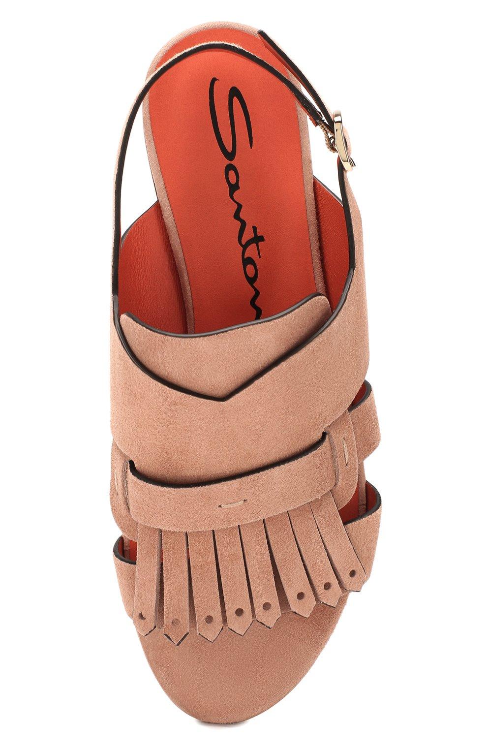 Женские замшевые сандалии SANTONI бежевого цвета, арт. WHBF58524HI1CLCPP21 | Фото 5