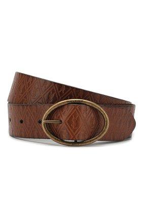 Женский кожаный ремень SAINT LAURENT коричневого цвета, арт. 609018/10M0B | Фото 1