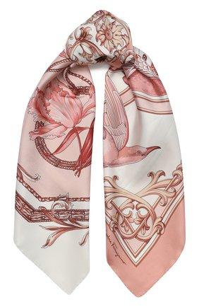 Женский шелковый платок SALVATORE FERRAGAMO розового цвета, арт. Z-0727004 | Фото 1