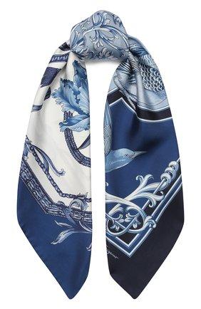 Женский шелковый платок SALVATORE FERRAGAMO голубого цвета, арт. Z-0727006 | Фото 1