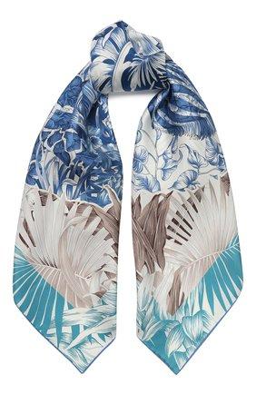 Женский шелковый платок SALVATORE FERRAGAMO голубого цвета, арт. Z-0727018 | Фото 1