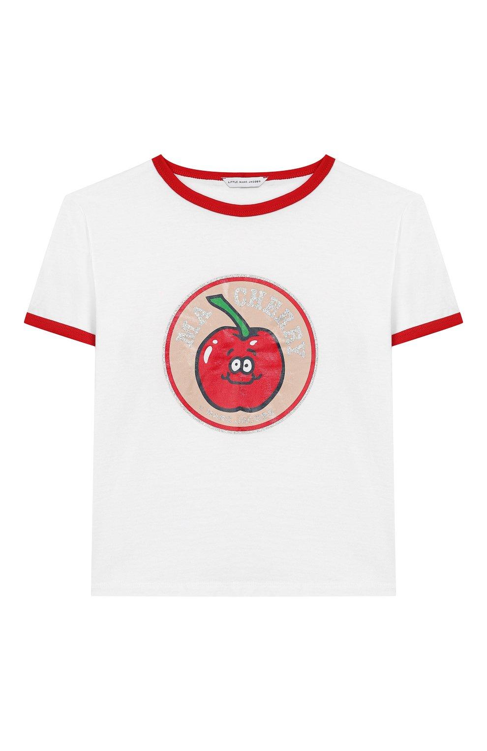 Детская хлопковая футболка MARC JACOBS (THE) белого цвета, арт. W15487 | Фото 1