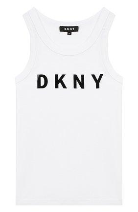 Детский хлопковый топ DKNY белого цвета, арт. D35Q48/10B SS20 | Фото 1