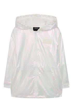 Детская ветровка с капюшоном DKNY белого цвета, арт. D36619/111 SS20 | Фото 1