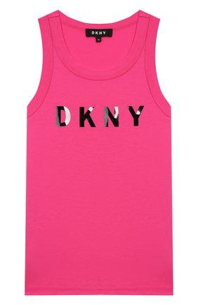 Детский хлопковый топ DKNY розового цвета, арт. D35Q71/476 SS20 | Фото 1