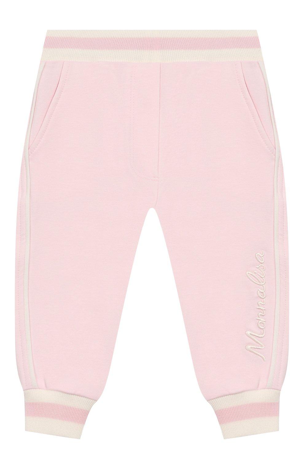Детские хлопковые джоггеры MONNALISA розового цвета, арт. 395407 | Фото 1