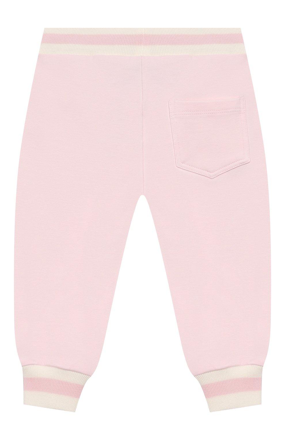Детские хлопковые джоггеры MONNALISA розового цвета, арт. 395407 | Фото 2