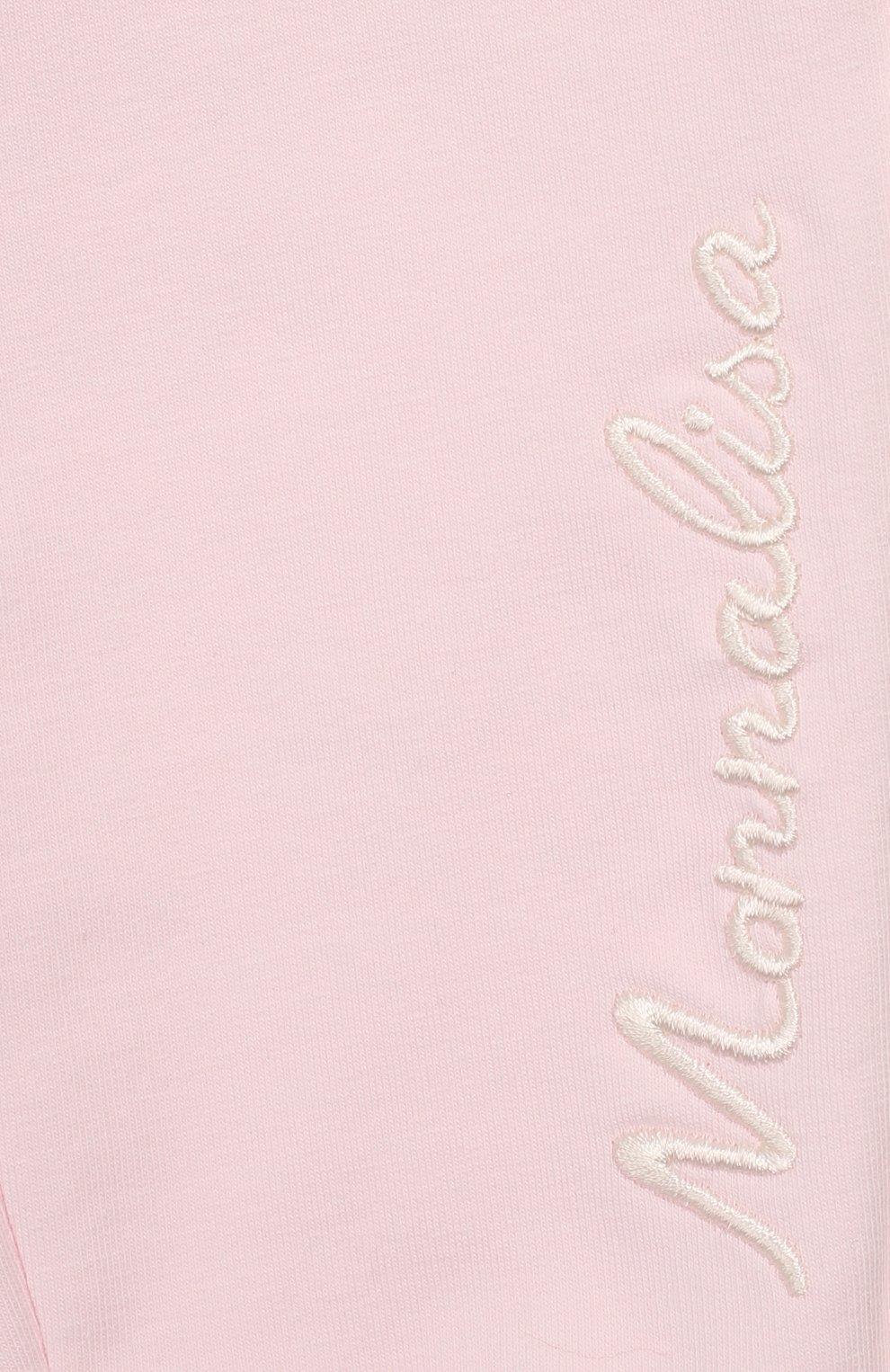 Детские хлопковые джоггеры MONNALISA розового цвета, арт. 395407 | Фото 3