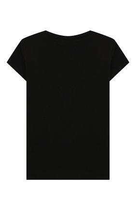 Детская хлопковая футболка MONNALISA черного цвета, арт. 195632RD | Фото 2