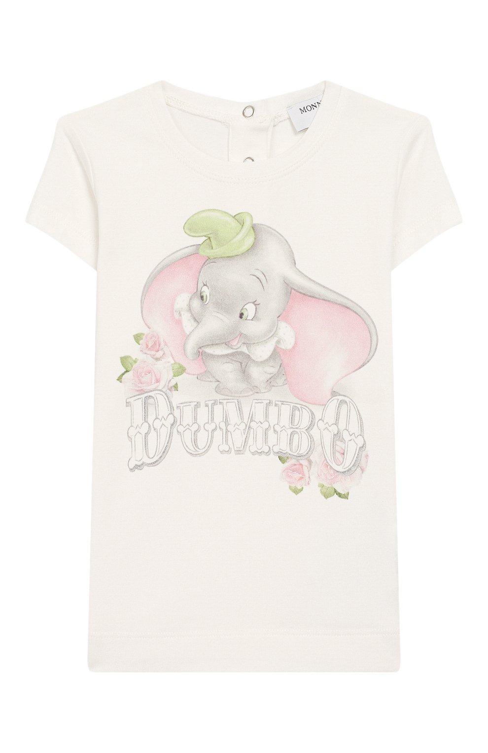 Детский хлопковая футболка MONNALISA белого цвета, арт. 395609SD | Фото 1