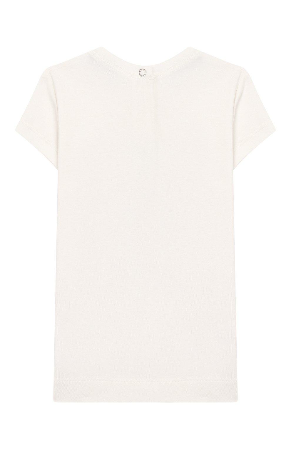 Детский хлопковая футболка MONNALISA белого цвета, арт. 395609SD | Фото 2