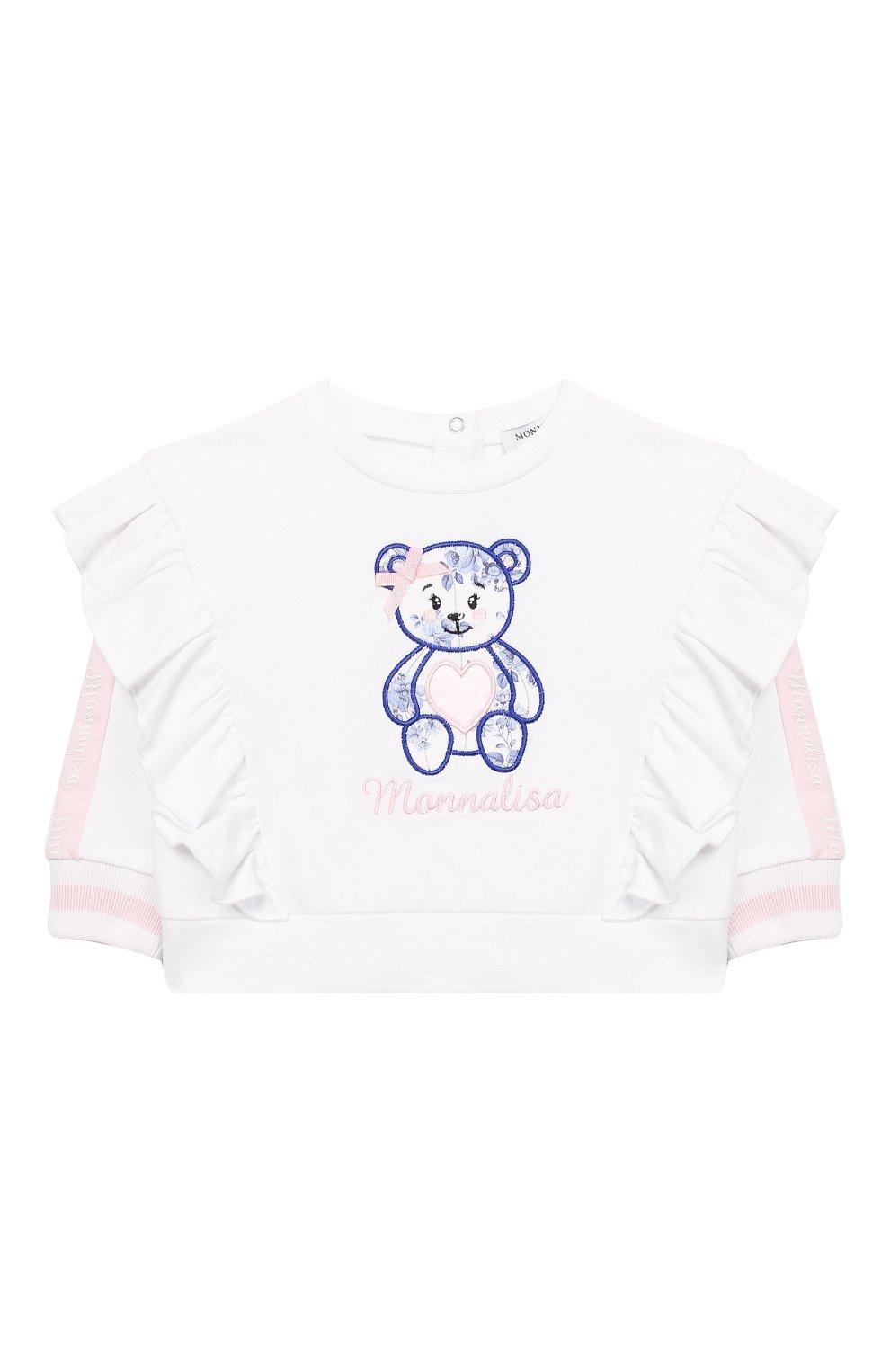 Детский хлопковый свитшот MONNALISA белого цвета, арт. 395604R6   Фото 1