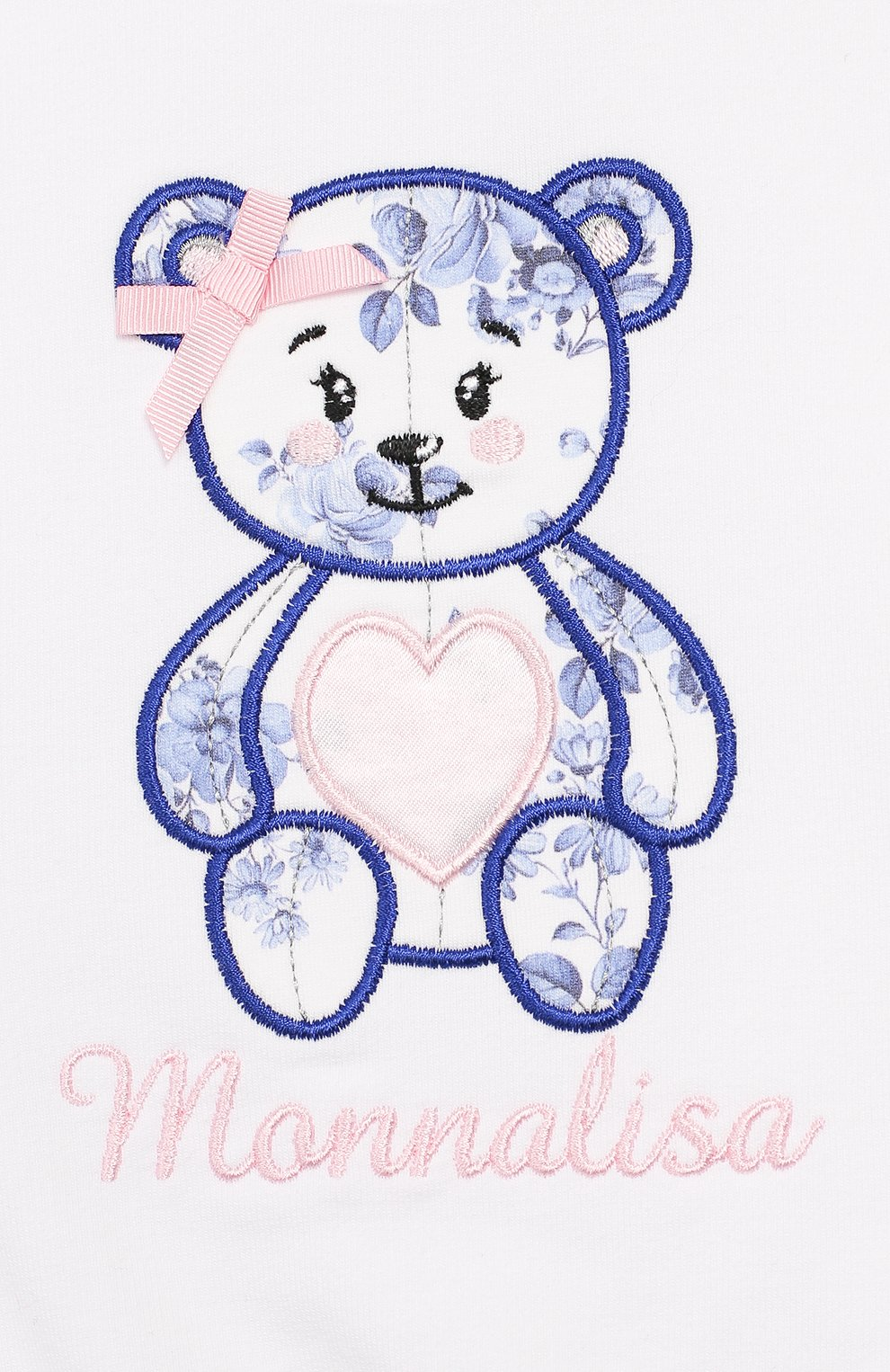 Детский хлопковый свитшот MONNALISA белого цвета, арт. 395604R6   Фото 3