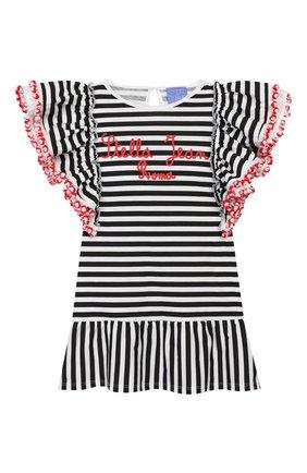 Детское хлопковое платье STELLA JEAN KIDS черно-белого цвета, арт. 20E/J/JF/TA03/1252/4A-6A   Фото 1