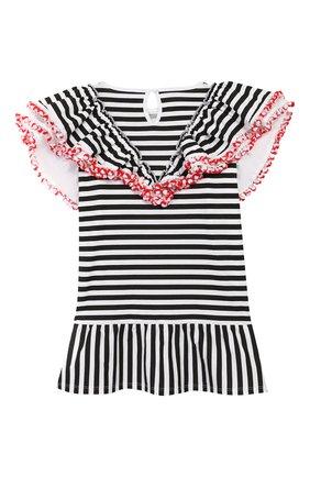 Детское хлопковое платье STELLA JEAN KIDS черно-белого цвета, арт. 20E/J/JF/TA03/1252/4A-6A   Фото 2