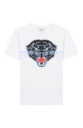 Детская хлопковая футболка MARCELO BURLON KIDS OF MILAN белого цвета, арт. 20E/B/MB/1109/0010/8-14Y   Фото 1