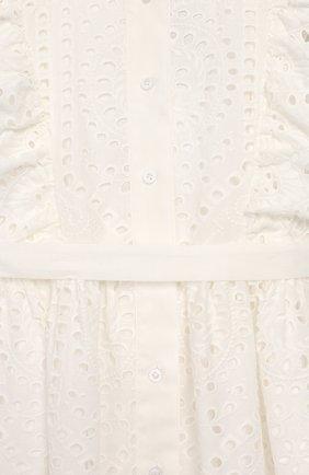 Детское хлопковое платье с поясом OSCAR DE LA RENTA белого цвета, арт. 20SGN602EFX   Фото 3 (Рукава: Короткие, Без рукавов; Случай: Повседневный; Материал внешний: Хлопок; Материал подклада: Хлопок; Ростовка одежда: 10 - 11 лет   140 - 146см, 12 лет   152 см, 4 года   104 см, 6 лет   116 см, 8 лет   128 см)