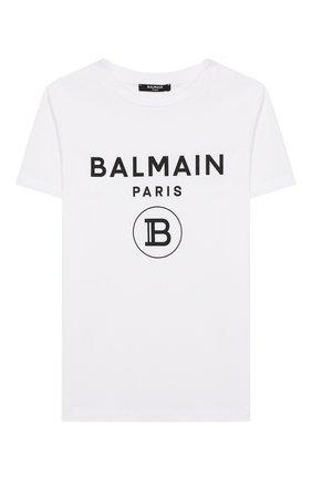 Детская хлопковая футболка BALMAIN белого цвета, арт. 6M8701/MX030/4-10 | Фото 1