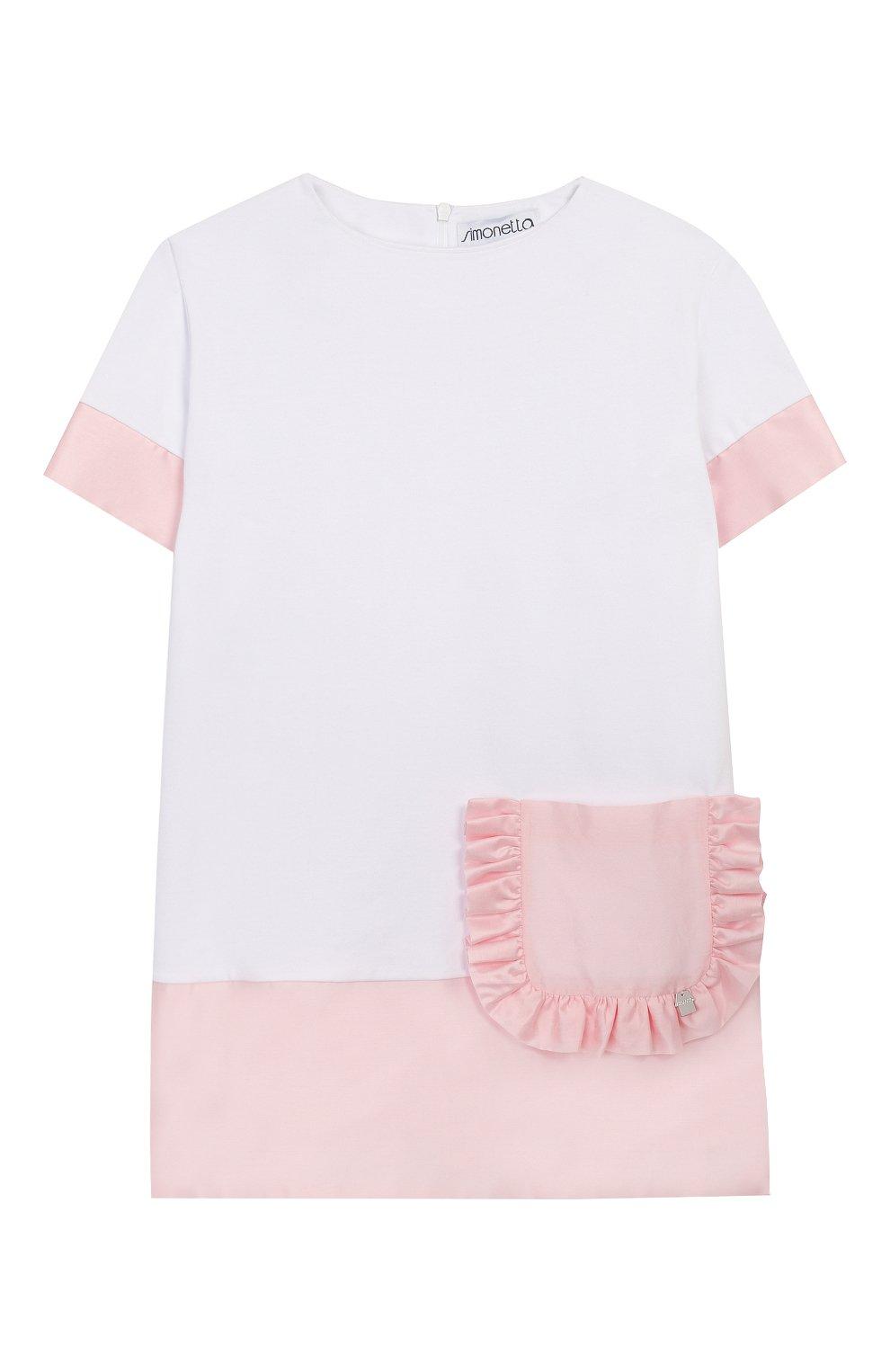 Детское хлопковое платье SIMONETTA белого цвета, арт. 1M1231/MB060/1-4   Фото 1 (Рукава: Короткие; Случай: Повседневный; Материал внешний: Хлопок; Ростовка одежда: 4 года   104 см, 2 года   92 см)