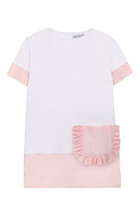 Детское хлопковое платье SIMONETTA белого цвета, арт. 1M1231/MB060/1-4 | Фото 1