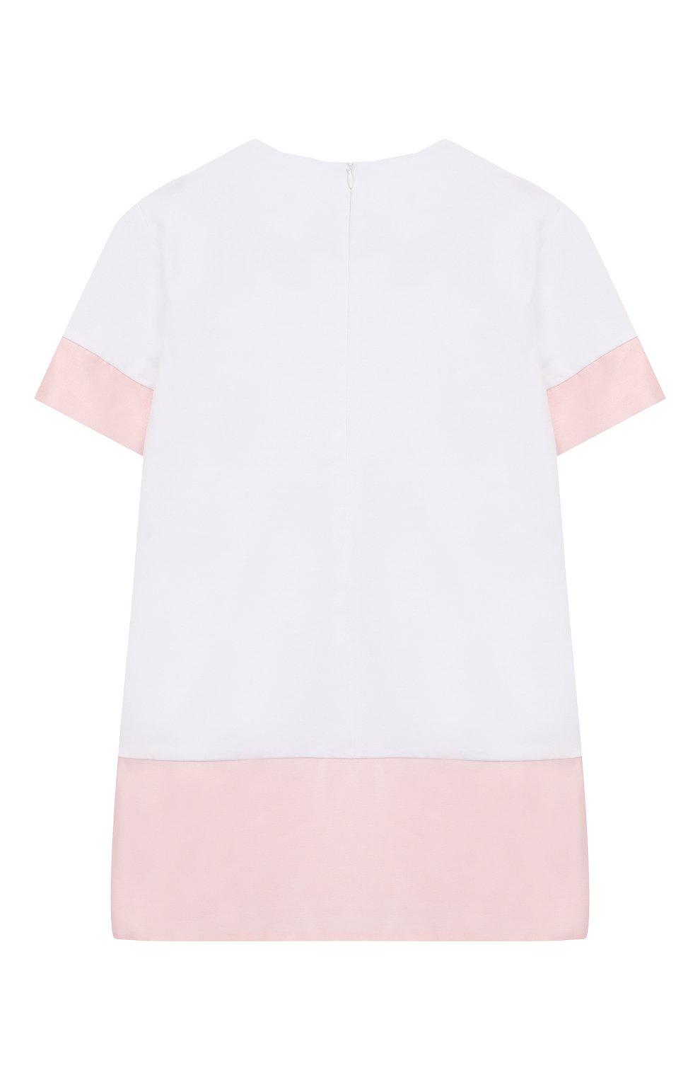 Детское хлопковое платье SIMONETTA белого цвета, арт. 1M1231/MB060/1-4   Фото 2 (Рукава: Короткие; Случай: Повседневный; Материал внешний: Хлопок; Ростовка одежда: 4 года   104 см, 2 года   92 см)