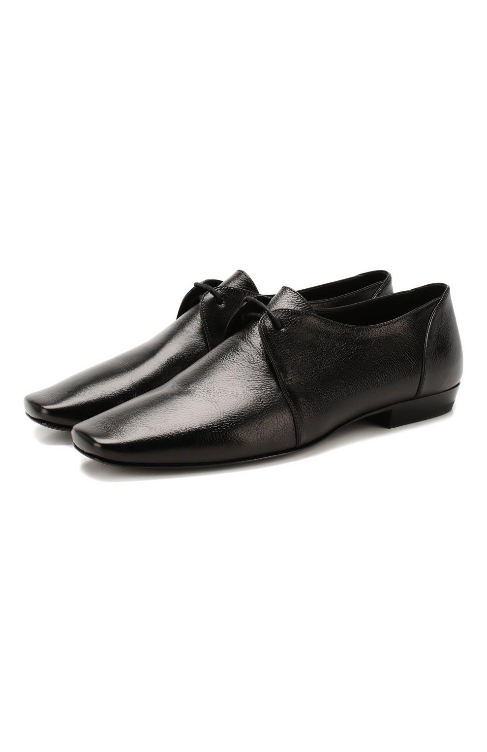Мужские кожаные дерби SAINT LAURENT черного цвета, арт. 581737/0ZZ00   Фото 1
