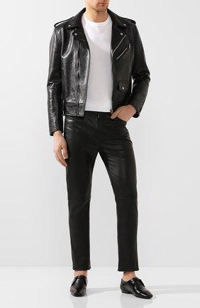 Мужской кожаные дерби SAINT LAURENT черного цвета, арт. 581737/0ZZ00 | Фото 2
