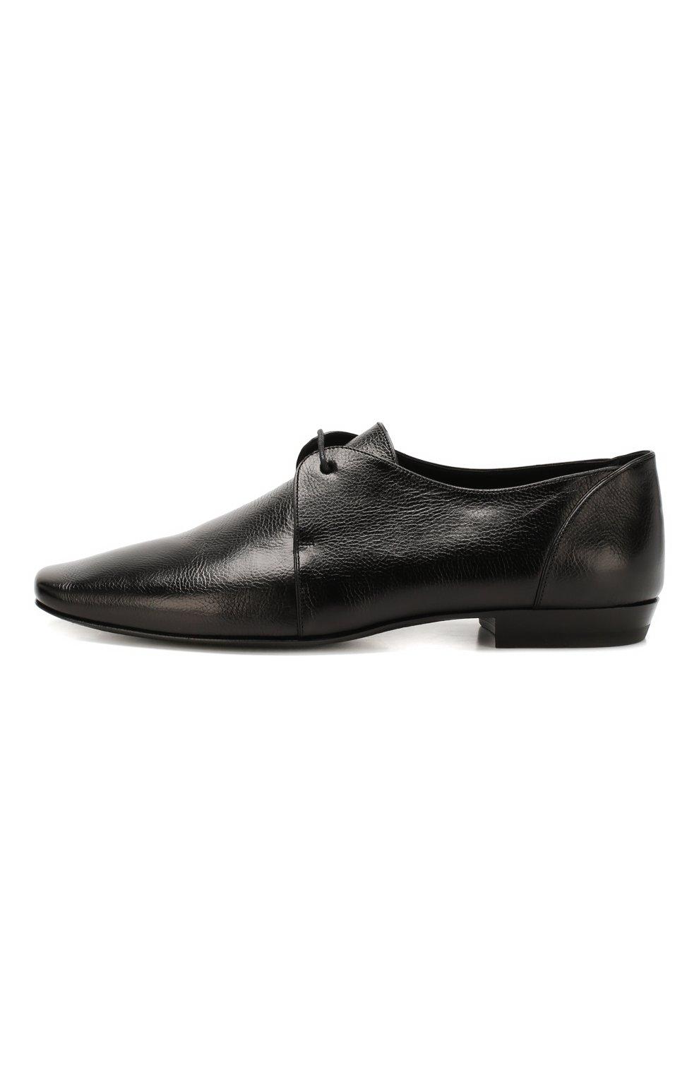 Мужские кожаные дерби SAINT LAURENT черного цвета, арт. 581737/0ZZ00   Фото 3
