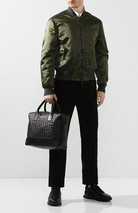 Мужской кожаный портфель BOTTEGA VENETA черного цвета, арт. 609206/VCPQ1   Фото 2