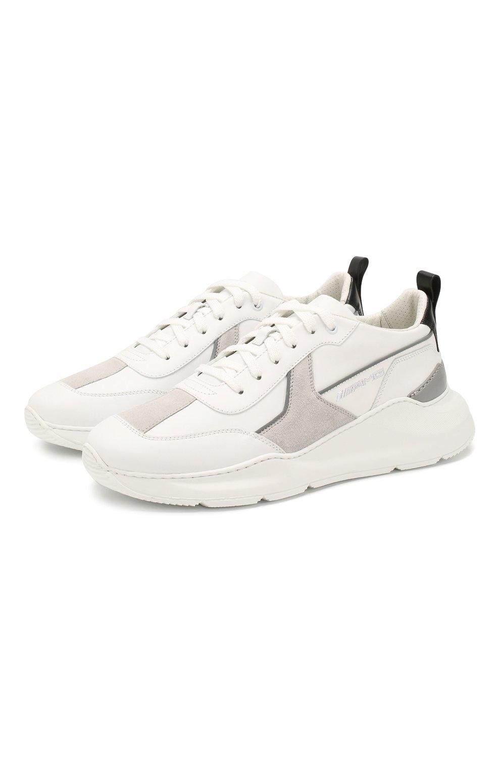 Мужские кожаные кроссовки SANTONI белого цвета, арт. MSAM21246GEGXJC0I41 | Фото 1
