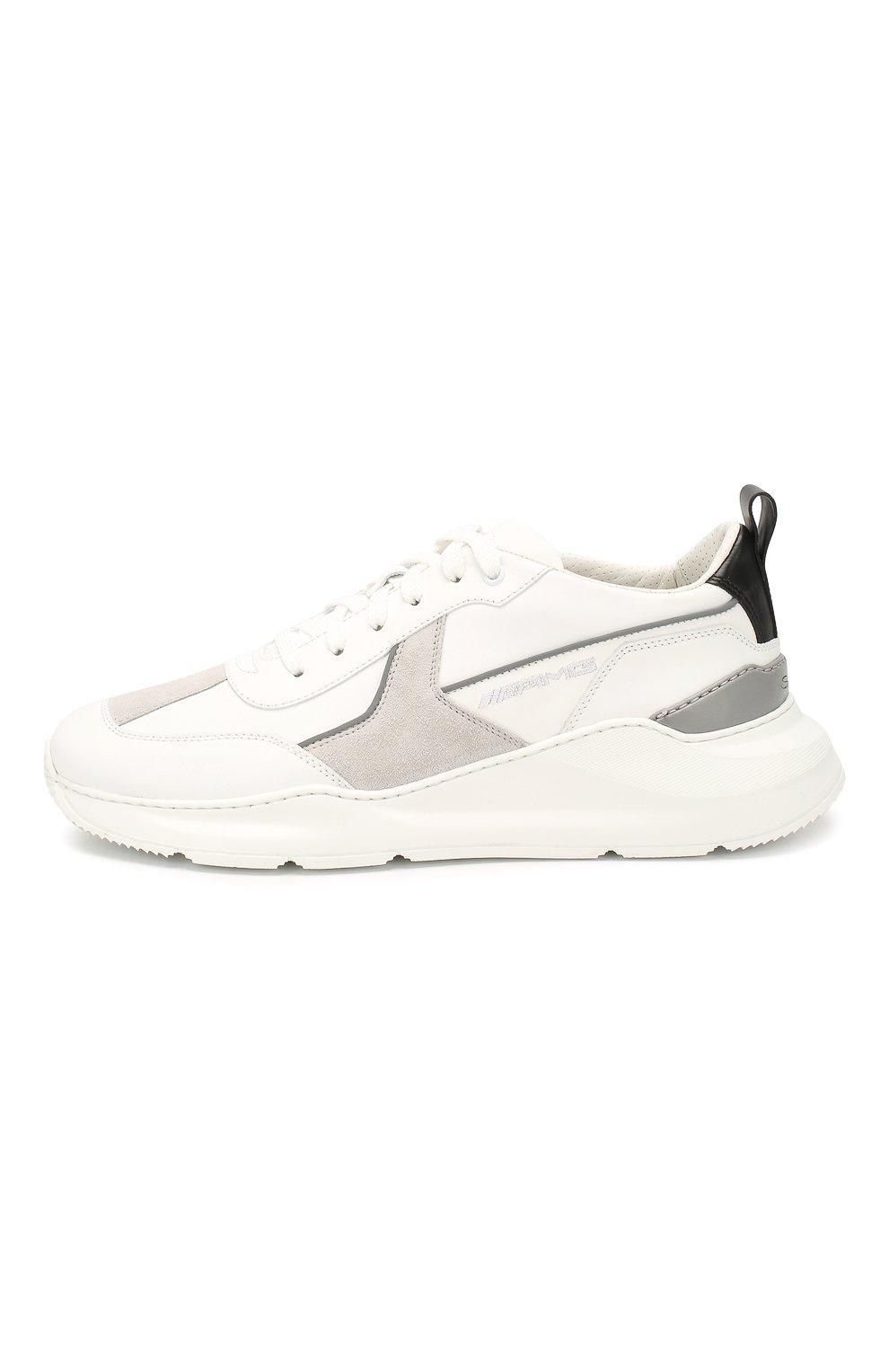 Мужские кожаные кроссовки SANTONI белого цвета, арт. MSAM21246GEGXJC0I41 | Фото 3