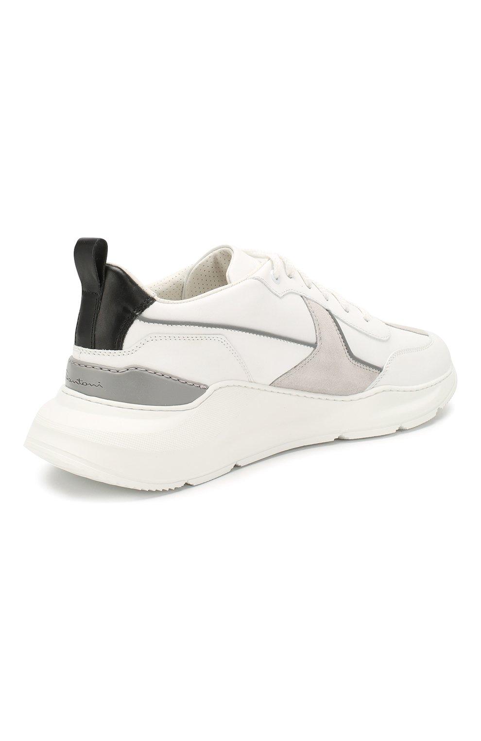 Мужские кожаные кроссовки SANTONI белого цвета, арт. MSAM21246GEGXJC0I41 | Фото 4