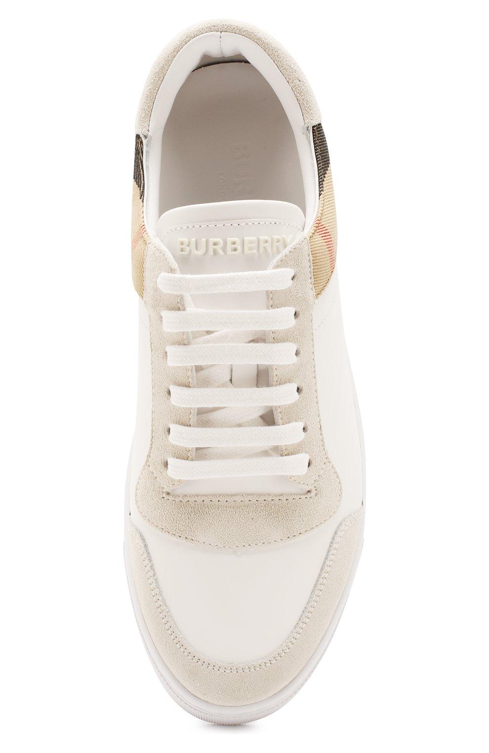 Мужские кожаные кеды BURBERRY белого цвета, арт. 8024125 | Фото 5