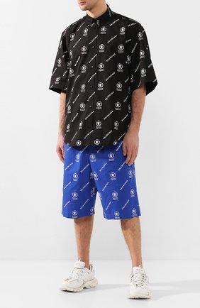 Мужская хлопковая рубашка BALENCIAGA черно-белого цвета, арт. 602026/TIL25 | Фото 2