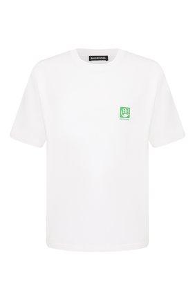 Мужская хлопковая футболка BALENCIAGA белого цвета, арт. 594579/THV63 | Фото 1