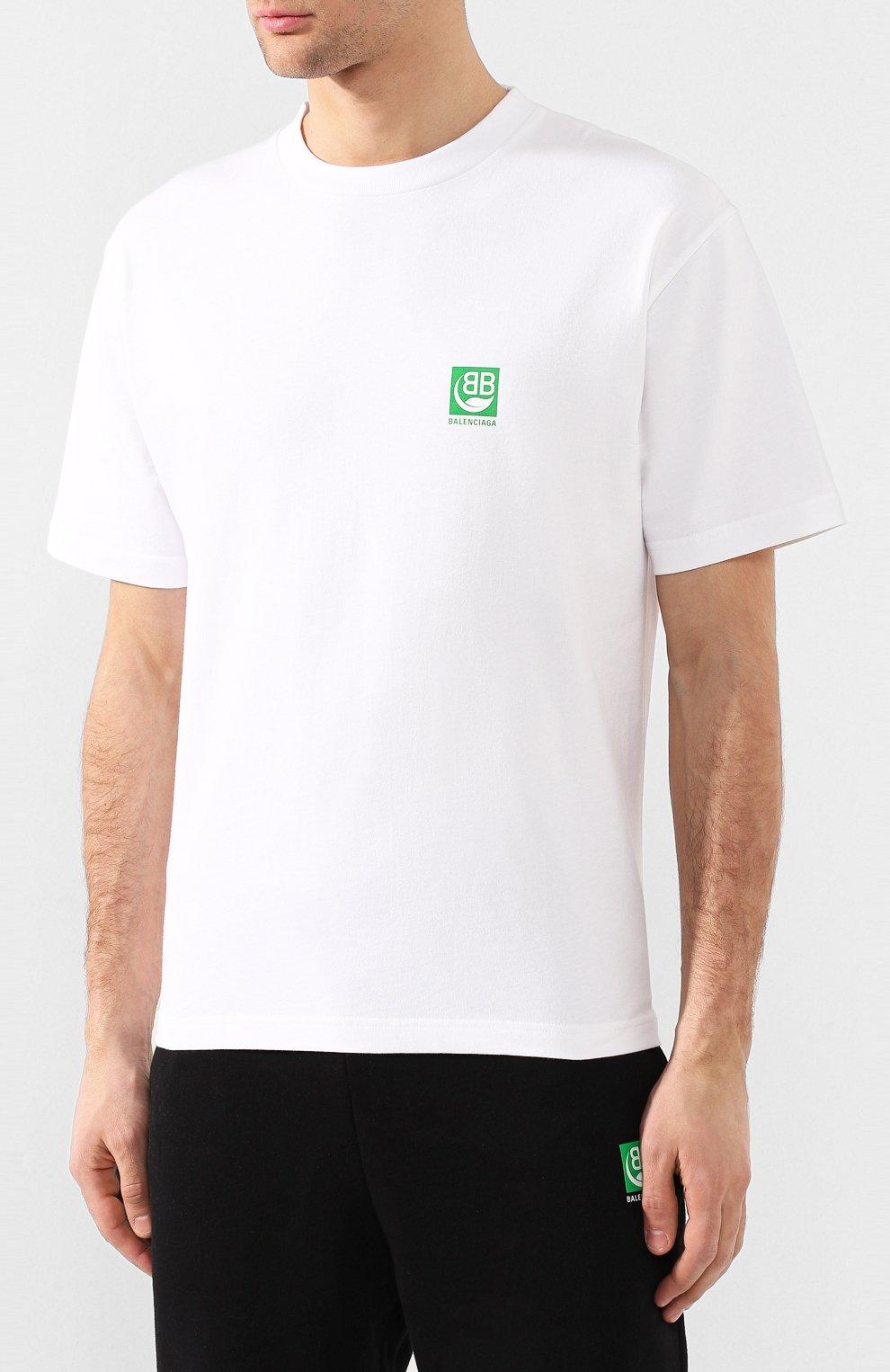 Мужская хлопковая футболка BALENCIAGA белого цвета, арт. 594579/THV63 | Фото 3