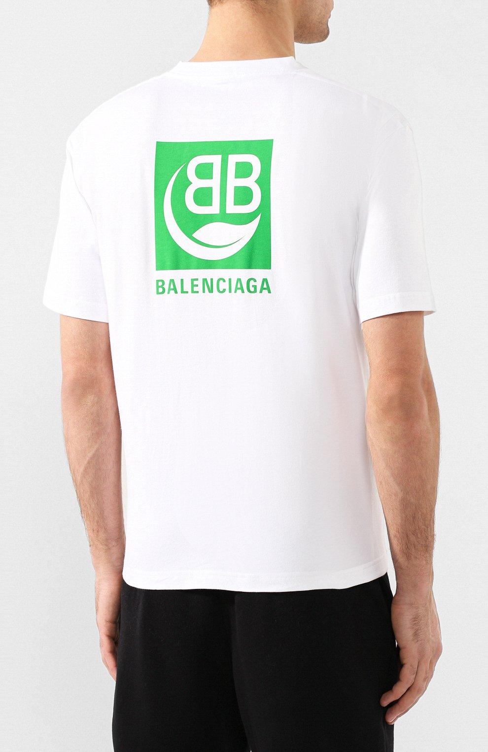Мужская хлопковая футболка BALENCIAGA белого цвета, арт. 594579/THV63 | Фото 4