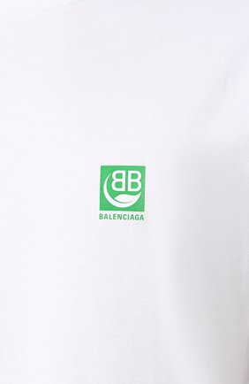 Мужская хлопковая футболка BALENCIAGA белого цвета, арт. 594579/THV63 | Фото 5