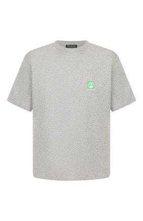 Мужская хлопковая футболка BALENCIAGA серого цвета, арт. 594579/THV63 | Фото 1