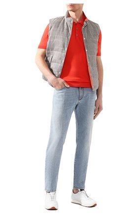 Мужское хлопковое поло BRIONI красного цвета, арт. UMR40L/08K01   Фото 2