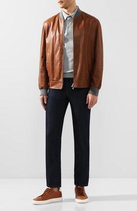 Мужские джинсы с отделкой из кожи каймана BRIONI темно-синего цвета, арт. SPNT0L/P9D45/STELVI0/CYAC | Фото 2
